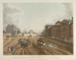 View of London No. 1. Entrance of Piccadilly or Hyde Park Corner Turnpike, with a View of St George's Hospital.